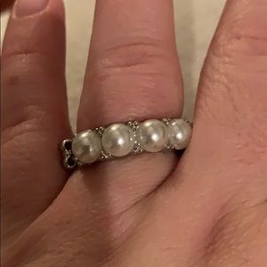 Brand New White pearl stretchy ring